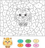 Color by number educational game for kids. Cartoon hamster. Stock Image
