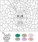 Color by number educational game for kids. Cartoon hare or rabbi Stock Image