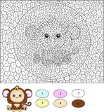 Color by number educational game for kids. Cartoon monkey. Royalty Free Stock Photography