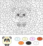 Color by number educational game for kids. Cartoon panda. Vector Stock Photography