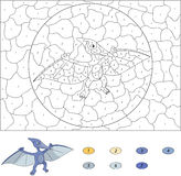 Color by number educational game for kids. Cartoon pterodactyl. Stock Photography