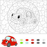 Color by number educational game for kids. Cartoon red car. Vect Stock Images