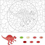 Color by number educational game for kids. Cartoon Spinosaurus. Stock Photo