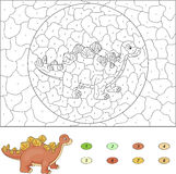 Color by number educational game for kids. Cartoon stegosaurus. Royalty Free Stock Photos