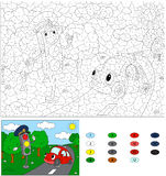 Color by number educational game for kids. Cartoon traffic light Stock Images