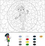 Color by number educational game for kids. Cartoon traffic light Royalty Free Stock Photography