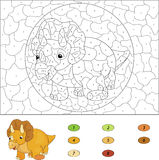Color by number educational game for kids. Cartoon Triceratops. Stock Image