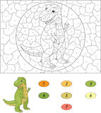 Color by number educational game for kids. Cartoon tyrannosaur. Royalty Free Stock Images