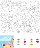 Color by number educational game for kids. Cute cartoon dragons Royalty Free Stock Photos