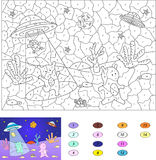 Color by number educational game for kids. Cute friendly aliens Royalty Free Stock Photography