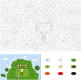 Color by number educational game for kids. A football player sta Royalty Free Stock Photography