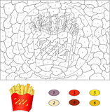 Color by number educational game for kids. French fries in a box Stock Images