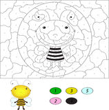 Color by number educational game for kids. Funny cartoon bee. Ve Stock Photos