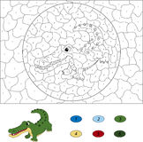 Color by number educational game for kids. Funny cartoon crocodi Royalty Free Stock Photo