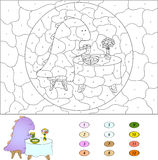 Color by number educational game for kids. Funny cartoon dragon Stock Photography
