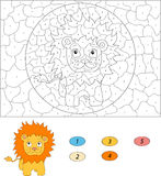 Color by number educational game for kids. Funny cartoon lion. V Royalty Free Stock Photo