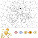 Color by number educational game for kids. Funny cartoon octopus. Vector illustration for schoolchild and preschool Stock Photography