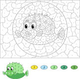 Color by number educational game for kids. Funny cartoon pufferf Stock Photo
