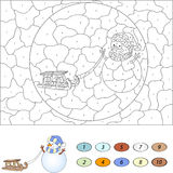 Color by number educational game for kids. Funny cartoon snowman Royalty Free Stock Photo