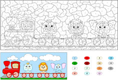 Color by number educational game for kids. Funny cartoon train Royalty Free Stock Images