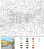 Color by number educational game for kids. Old town streets Stock Photos