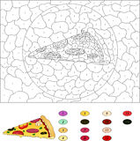 Color by number educational game for kids. Pizza with salami, to Royalty Free Stock Photos