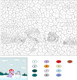 Color by number educational game for kids. Purple dragon and cut Stock Images