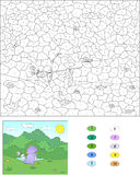 Color by number educational game for kids. Purple dragon with ne Stock Photo