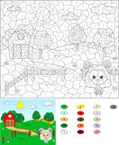 Color by number educational game for kids. Rural landscape with Royalty Free Stock Photo