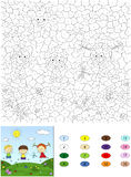 Color by number educational game for kids. Two boys and a girl p Royalty Free Stock Image