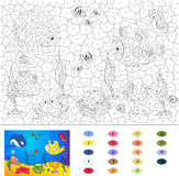 Color by number educational game for kids. Underwater world, ocean floor with octopus, submarine, whale, fish, corals and sea she. Lls. Vector illustration for stock illustration