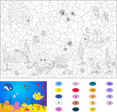 Color by number educational game for kids. Underwater world. Ocean floor with octopus, submarine, whale, fish, corals and sea shells. Vector illustration for Stock Image