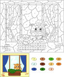 Color by number educational game for kids. Window with cat, flow Stock Photos