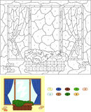 Color by number educational game for kids. Window with flower po Stock Photo