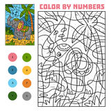 Color by number, Elephant. Color by number, education game for children, Elephant Stock Images