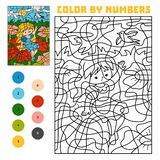 Color by number. Fairy tales. Thumbelina on a flower in a meadow and a swallow in the sky. Color by number, education game for children. Fairy tales. Thumbelina royalty free illustration