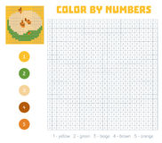 Color by number, fruits and vegetables, apple. Color by number, education game for children. Fruits and vegetables, apple. Coloring book with numbered squares Stock Photo