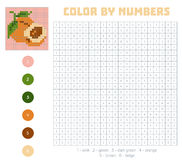 Color by number, fruits and vegetables, apricot. Color by number, education game for children. Fruits and vegetables, apricot. Coloring book with numbered Royalty Free Stock Image