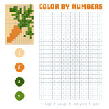 Color by number, fruits and vegetables, carrot. Color by number, education game for children. Fruits and vegetables, carrot. Coloring book with numbered squares Stock Photos