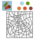 Color by number, fruits and vegetables (cherry) Royalty Free Stock Photos
