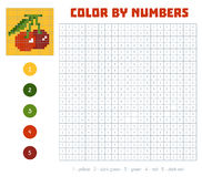 Color by number, fruits and vegetables, cherry Stock Image