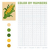 Color by number, fruits and vegetables, corn Stock Photos