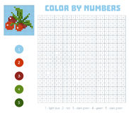 Color by number, fruits and vegetables, cranberry. Color by number, education game for children. Fruits and vegetables, cranberry. Coloring book with numbered Royalty Free Stock Photo