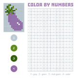 Color by number, fruits and vegetables, eggplant. Color by number, education game for children. Fruits and vegetables, eggplant. Coloring book with numbered Stock Photography