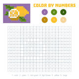Color by number, fruits and vegetables, lemon. Color by number, education game for children. Fruits and vegetables, lemon. Coloring book with numbered squares Stock Photo