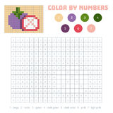 Color by number, fruits and vegetables, mangosteen Royalty Free Stock Photos