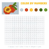 Color by number, fruits and vegetables, nectarine. Color by number, education game for children. Fruits and vegetables, nectarine. Coloring book with numbered Royalty Free Stock Photos