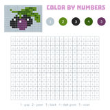Color by number, fruits and vegetables, olives. Color by number, education game for children. Fruits and vegetables, olives. Coloring book with numbered squares Royalty Free Stock Images