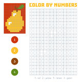 Color by number, fruits and vegetables, pear. Color by number, education game for children. Fruits and vegetables, pear. Coloring book with numbered squares Stock Photos