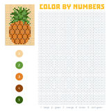 Color by number, fruits and vegetables, pineapple Stock Photos